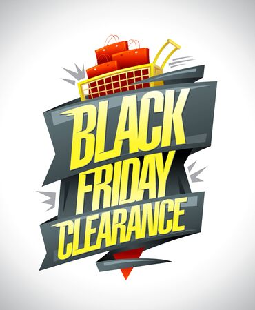 Black friday clearance, sale vector poster design concept
