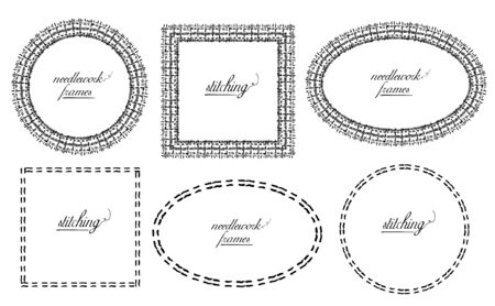 Needlework and sewing style frames set - oval, circle and square, hand drawn vector