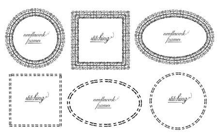 Set di cornici in stile cucito e cucito - ovale, cerchio e quadrato, vettore disegnato a mano