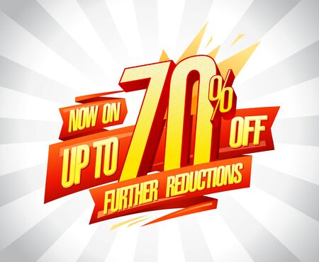 Up to 70% off, further reductions sale poster concept
