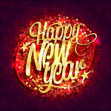 Happy new year card with red sparkles background, golden lettering