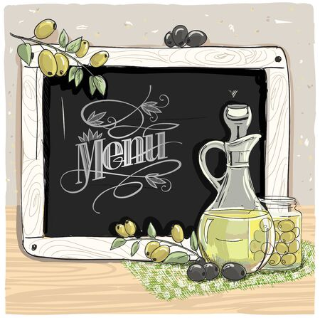 Menu cover with bottle of olive oil and chalk blackboard, hand drawn vector graphic illustration