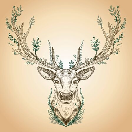 Spirit of the Forest, hand drawn graphic sketch illustration with a deer with big antlers and leaves growth on it, front view