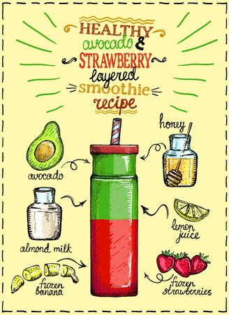 Healthy avocado and strawberry layered smoothie recipe with ingredients, hand drawn graphic illustration