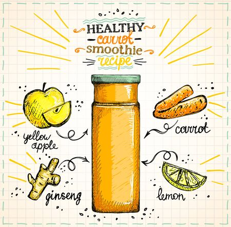 Healthy carrot smoothie recipe on a paper, vegetarian smoothie menu with ingredients, vegetables set sketch hand drawn graphic illustration