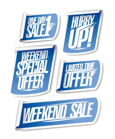 One day sale, hurry up, weekend special offer, limited time offer and weekend sale - discount stickers set Ilustração