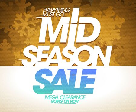 Mid season sale, mega clearance, vector poster design Illustration