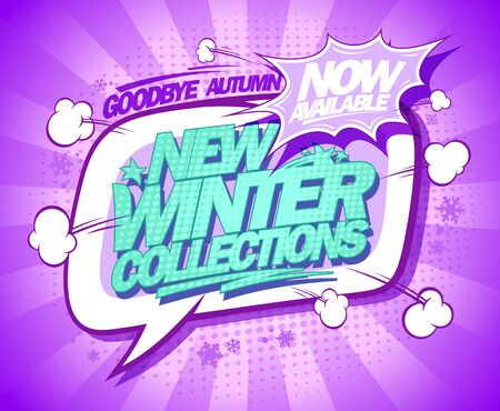 New winter collections now on, fashion banner design, pop art style with rays and speech bubble