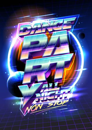 Dance party flyer or poster design concept, 80s years retro style vector illustration