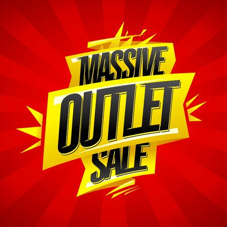 Massive outlet sale vector banner design, lettering with ribbons Ilustração