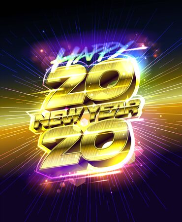 New year poster 2020, golden lettering, vector illustration