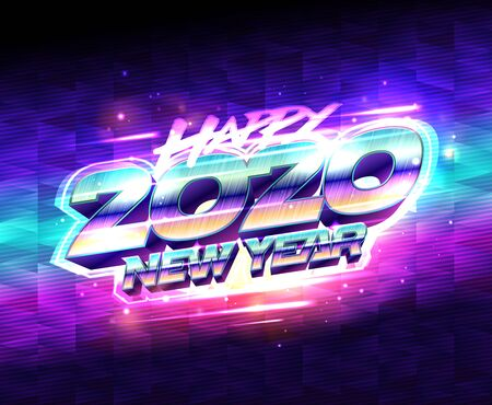 Happy new year poster 2020, vector illustration