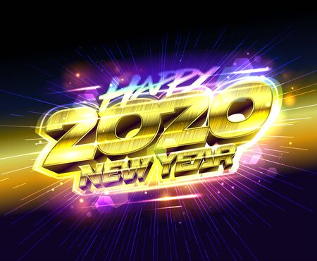 Happy new 2020 year card, golden text, vector illustration