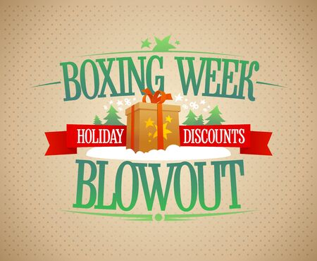 Boxing week blowout sale banner design, holiday discounts