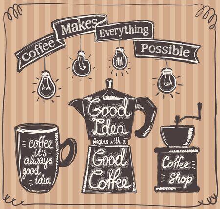 Coffee menu symbols set - coffee its always good idea, good idea begins with good coffee, coffee make everything possible Ilustrace