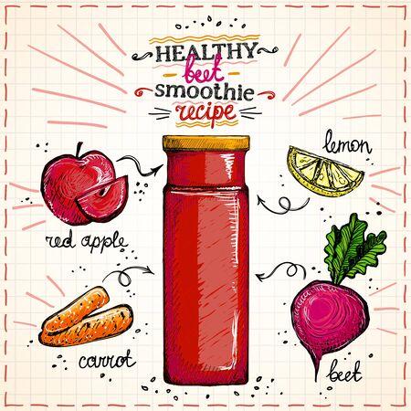 Croquis dessiné à la main de recette de smoothie de betterave saine, menu de smoothie végétarien avec des ingrédients, illustration graphique de jeu de légumes Vecteurs