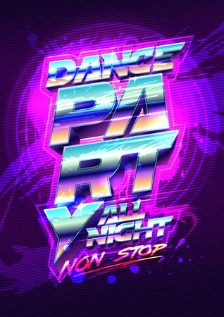 Dance party poster design, 80s years retro style