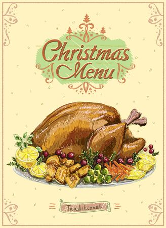 Christmas menu poster with traditional holiday roasted turkey, hand drawn vector illustration