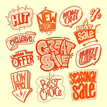Hand drawn graphic sale signs set - great sale, hit, limited time offer, low price, best choice, seasonal sale, exclusive, new collection, hot sale, hurry up, etc. Illustration