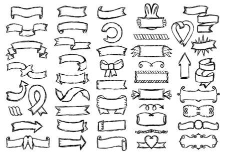 Retro graphic line ribbons and elements set, hand drawn vector illustration Vecteurs