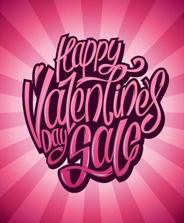 Happy Valentines day sale lettering vector banner