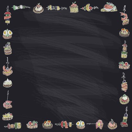 Canapes and sandwiches frame on a chalk blackboard, hand drawn doodle style vector illustration