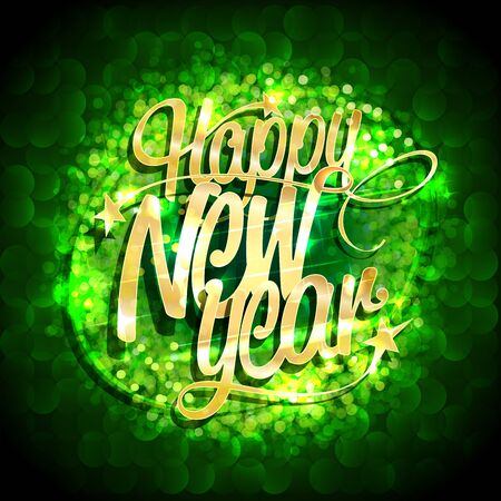 Happy new year card with green sparkles background