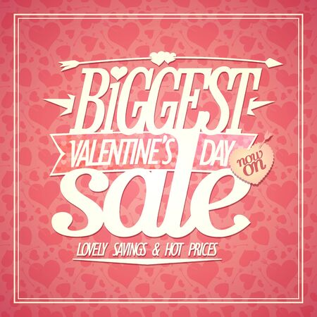 Biggest Valentines day sale poster, lovely savings and hot prices