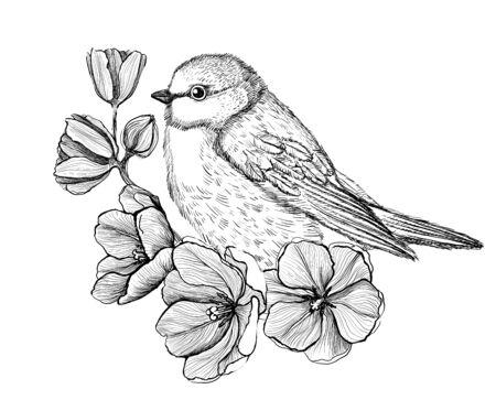 Ilustración gráfica de arte de un pájaro posado en una rama con flores, boceto de tatuaje, estilo vintage