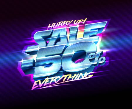 Sale banner -50% off everything, vector poster 80s years style