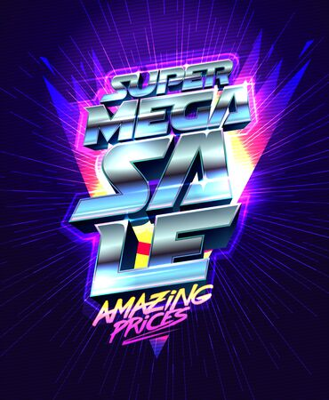 Super mega sale, amazing prices, vector banner design