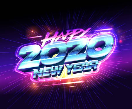 Happy New year 2020, vector card design