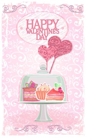 Happy Valentines day card or menu cover with candy bar