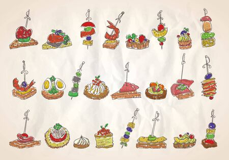 Doodle illustration with canapes and sandwiches on a paper, hand drawn vector illustration Ilustração