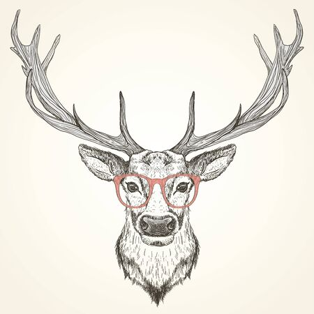 Hand drawn graphic sketch illustration of a deer head with big antlers and with red glasses, front view