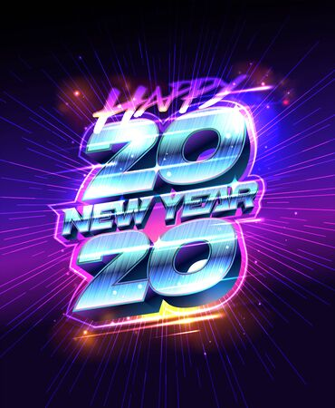 New year poster 2020, vector illustration, neon lights design
