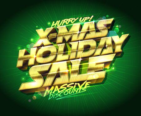 x-mas holiday sale, vector poster design, massive discounts