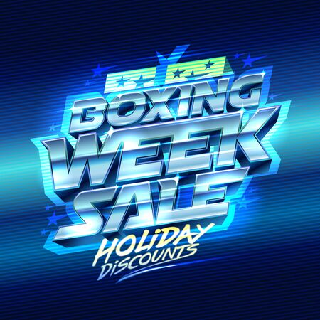Boxing week sale, holiday discounts, vector poster design