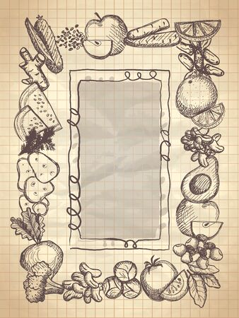 Graphic frame with assorted vegetables and fruits, vector illustration