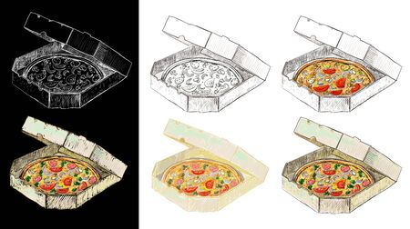 Pizza in delivery box, set graphic sketch illustration, line and colored version
