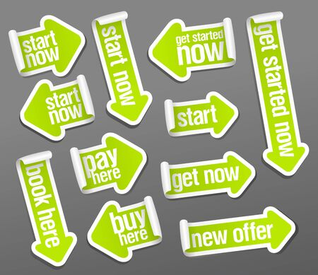Stickers set in form of arrows - start now, pay here, get started now, buy here, new offer, book here, get now