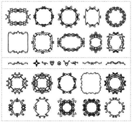 Ensemble de cadres et de séparateurs de monogramme de ligne graphique de style vintage, illustration vectorielle dessinés à la main Vecteurs