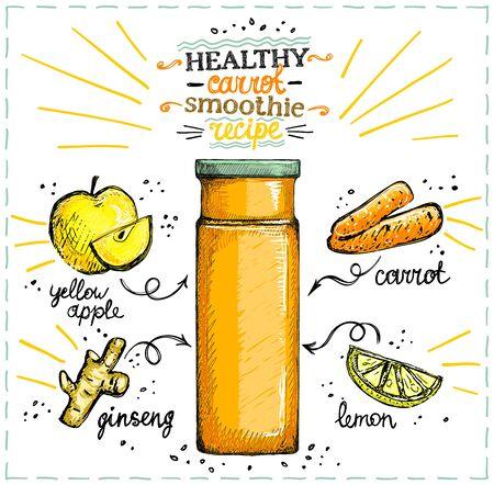 Recette de smoothie aux carottes saines, menu de smoothies végétariens avec ingrédients, légumes mis en croquis illustration graphique dessinée à la main Vecteurs