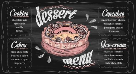 Chalk dessert menu template on a chalkboard - cupcakes, cakes, ice-cream and cookies. Hand drawn vector graphic illustration