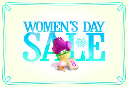 Women's day sale banner concept, holiday weekend offer banner----