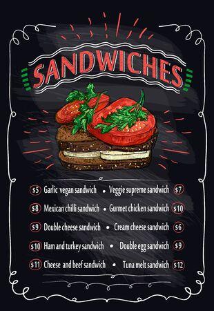 Sandwiches chalkboard menu, hand drawn graphic sketch illustration
