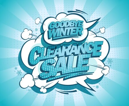 Winter clearance sale, goodbye winter advertising poster