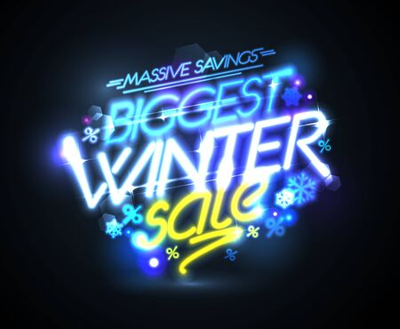 Biggest winter sale, massive savings vector advertising poster, neon lights style Foto de archivo - 138041991