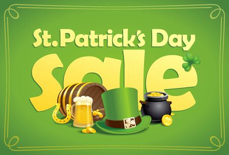 Saint Patricks day sale vector banner design with classic holiday symbols 向量圖像