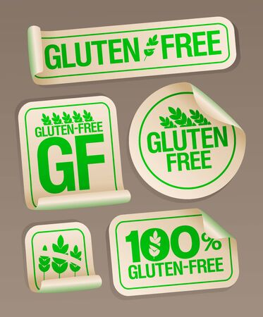 Gluten free food stickers collection, healthy eating concept Ilustrace
